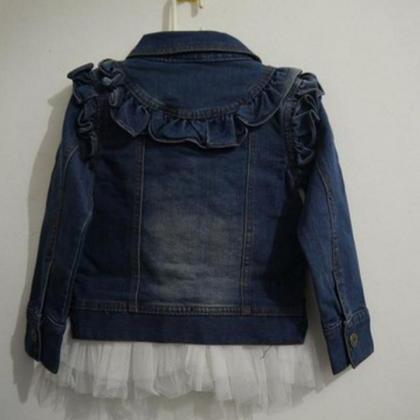 5T Denim Jacket with Pearls and Ruf..