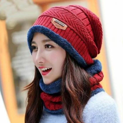 Red Winter Hats for Men with Matchi..