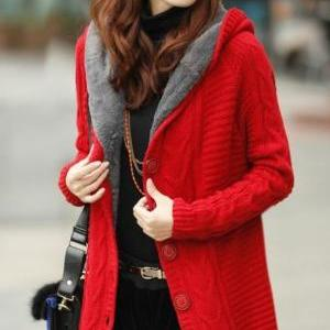 Rsslyn Solid Red Color Hooded Cardi..