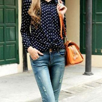 Polka Dots Blouse Long Sleeve White..