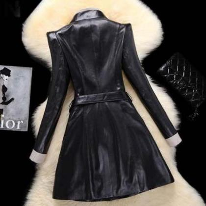 Genuine Leather Overcoat Winter She..