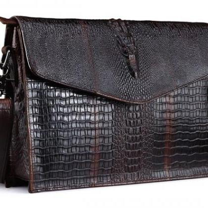 Brown Clutch Crocodile Skin Cow Lea..