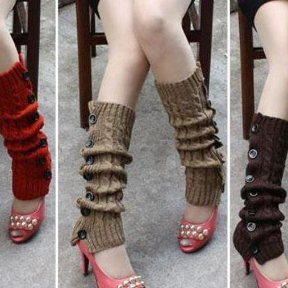 Red Knitted leg Warmers with Button..
