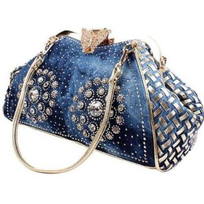 Blue Denim Handbags for Women Baske..