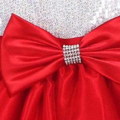 Red Ballgown Dress with Sequined Bo..