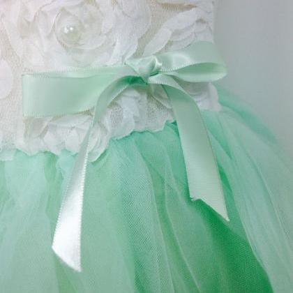 Mint Green Dress with Petals in the..