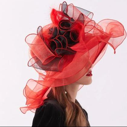 Lady in Red Hats for Women Wide Bri..