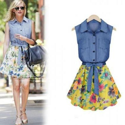 6d13f2a8956 Blue Denim Dress Floral Dress Cowgirl Yellow Dress For Big Toddler ...