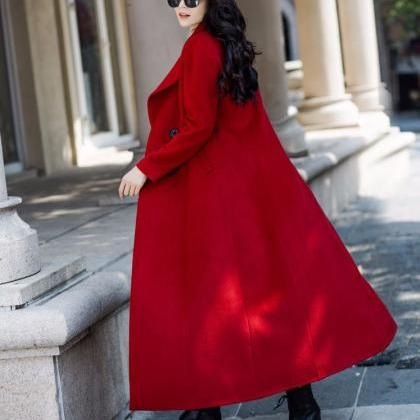 Red Long Coats-Red Winter Wool Coat..
