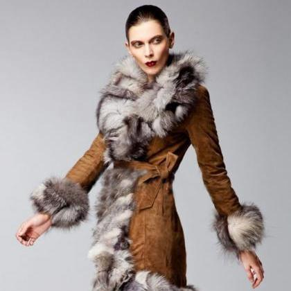 Brown Winter Coats with Genuine Fox..