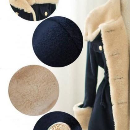 Navy Blue Wool Jackets with Big Lap..