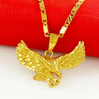 Gold American Eagle Necklace 24K Go..