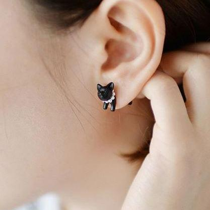 Womens Black Cat Earrings Double St..