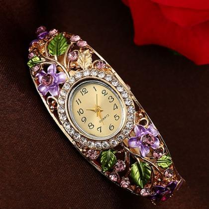 Purple Quartz Watch Oval Shape Wris..