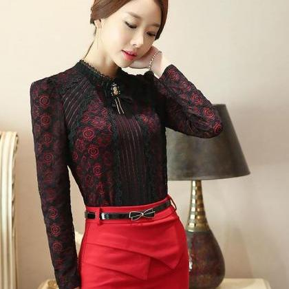 S,M,L,XL Black Blouse with Laces Lo..