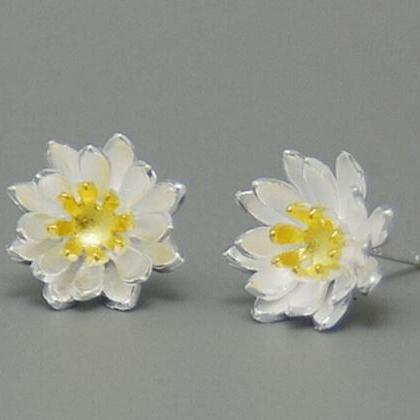925 Sterling Silver Earrings Yellow..