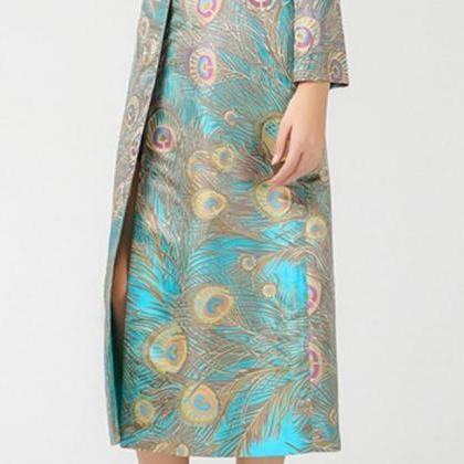 Silk Jacquard Peacock Pattern Luxur..