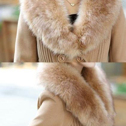Beige Winter Coats Thick Soft Long ..
