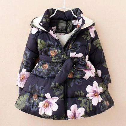 Navy Blue Floral Winter Jacket for ..