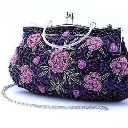 Purple Evening Shoulder Bag Beaded ..