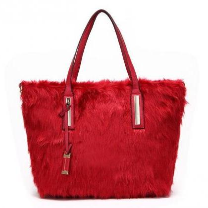 Red Fur Bag Large Furry Red Bags