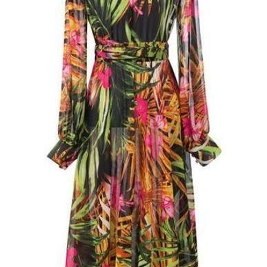 Printed Summer Maxi Dress Green Dre..
