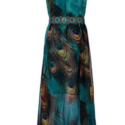 Peacock Dress Green Peacock Dress S..