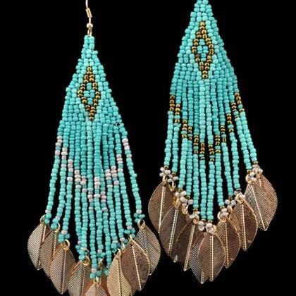 Turquoise Earrings Beaded Colorful ..