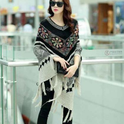 BLACK Poncho BLACK Cardigan Capes w..