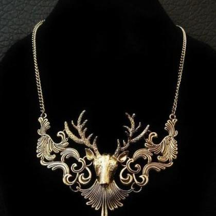 Deer Necklace Unique Vintage Look D..