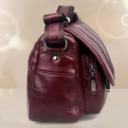 Women Authentic Genuine Leather Red..