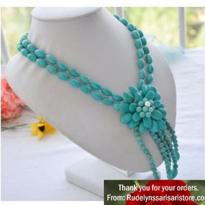 Turquoise Necklaces for Women-Flora..
