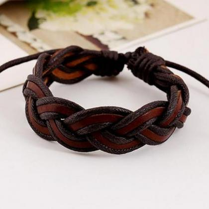 Genuine Brown Leather Bracelet Hand..
