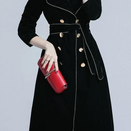 Black Trench Coats Velvet Material ..