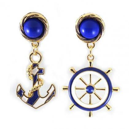 Vintage Anchor Sailor Earrings Stee..