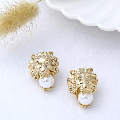 Golden Earrings for Women Lion Head..