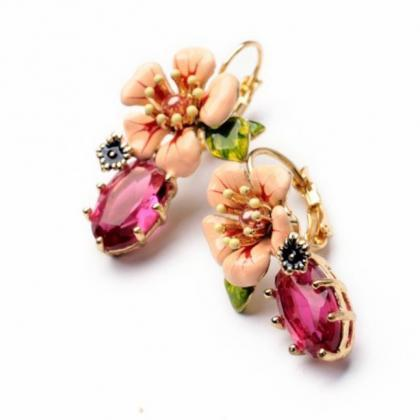 peach flower earrings clip on earri..
