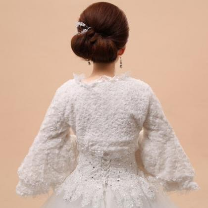 White Ruffled Bolero for Women-Brid..