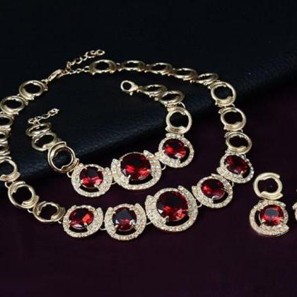 red chunky jewelry set gold plated ..
