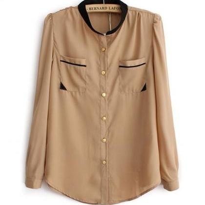 Solid chiffon Tops for Women Beige ..