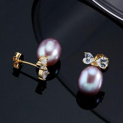 Fancy 18K Gold Earrings Peach Pearl..