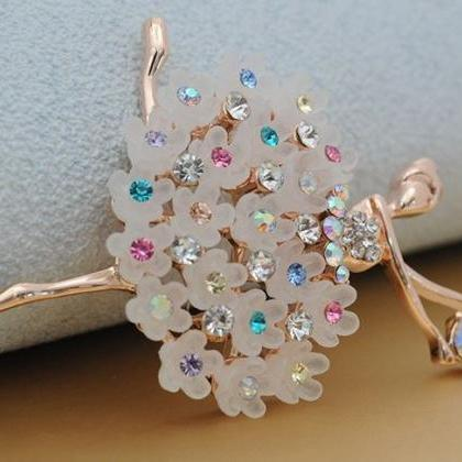 Ballerina Brooch Gold Plated CZ Bro..