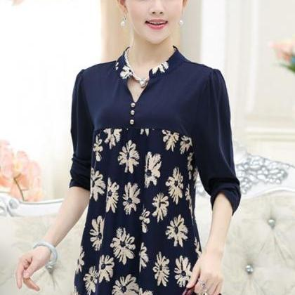New Fashion Navy Blue Blouse for Wo..