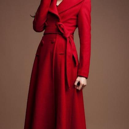 Red Maxi Dress Coat for Women Red W..