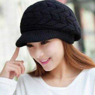 Black Hats for Women 7 Colors Slouchy Hats for Teen Girls with Brim Knitted hats Thick and Warm Black Beanies for Women