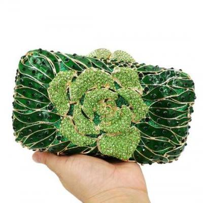 New Trendy Floral Handbags Bridal Bags RSS Boutique Beaded Green Clutch for Women Enamel Crystal Clutch
