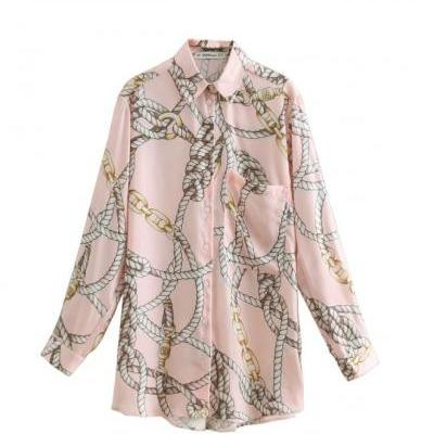 Pink Blouses for Women with Rope Prints Elegant Button Up Shirts-Women's Fashion Chain Print Casual Pink Smock Blouse