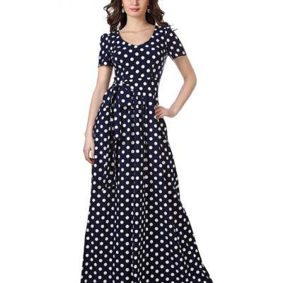 New Arrival High Quality Polka Dots Maxi Dress for Women Navy Blue Long Dresses Pageant Maxi Dress