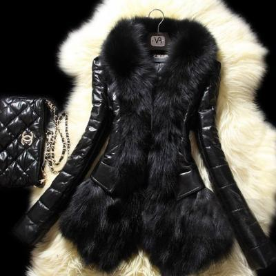 Black Pu Leather Jacket with Real Rabbit Fur Winter Jackets