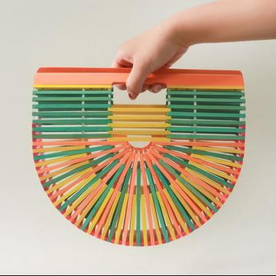 Multi-colored Purse Bamboo Fashion Bags for Women Colorful Purse Tote Bags for Women new trends New Products
